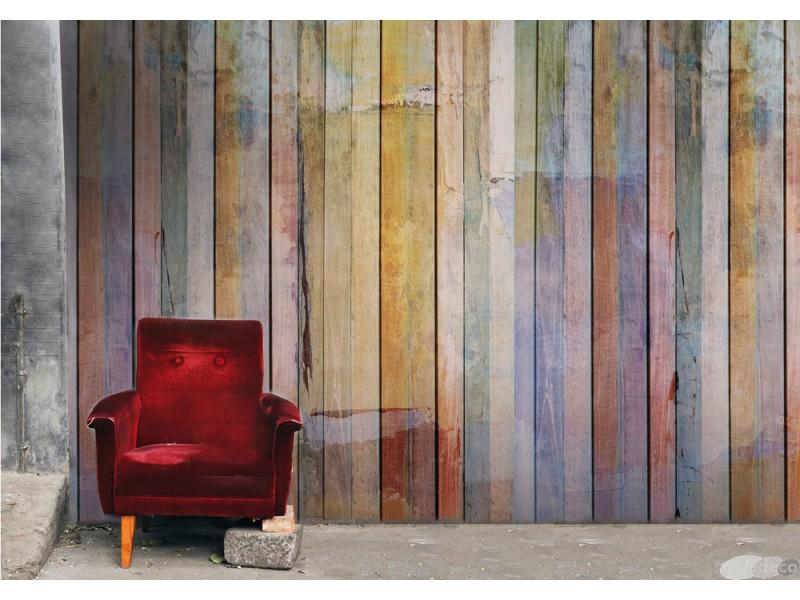trompe l 39 oeil avec un papier peint textile effet bois acte deco