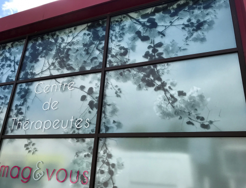 Habillage de la façade vitrée du Centre de Thérapeutes Imagetvous